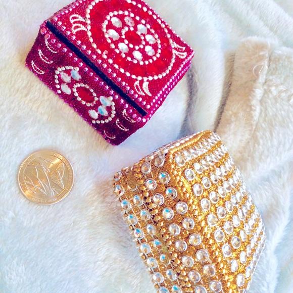 Set2 metallic bead jeweled trinket boxes Celestial